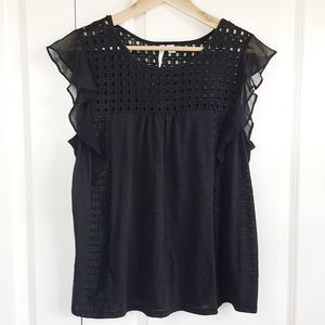 LC Lauren Conrad Black Lace Ruffle Sleeve Top L